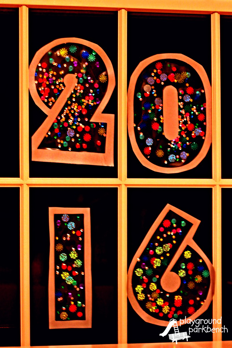 New Year's Craft for Toddlers - Window Decals at Night