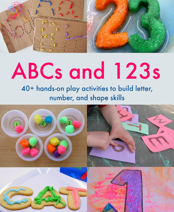 40+ hands on play based activities to build letter and number skills with your toddler or preschooler! Perfect for use at home with your child, or in a classroom setting. Learning activities for indoors and outside in your backyard, with multi-sensory exploration of letters and numbers. | Toddler | Preschool | Totschool | Learning through Play | Play |STEM | STEAM | Early Literacy | Math for Preschool