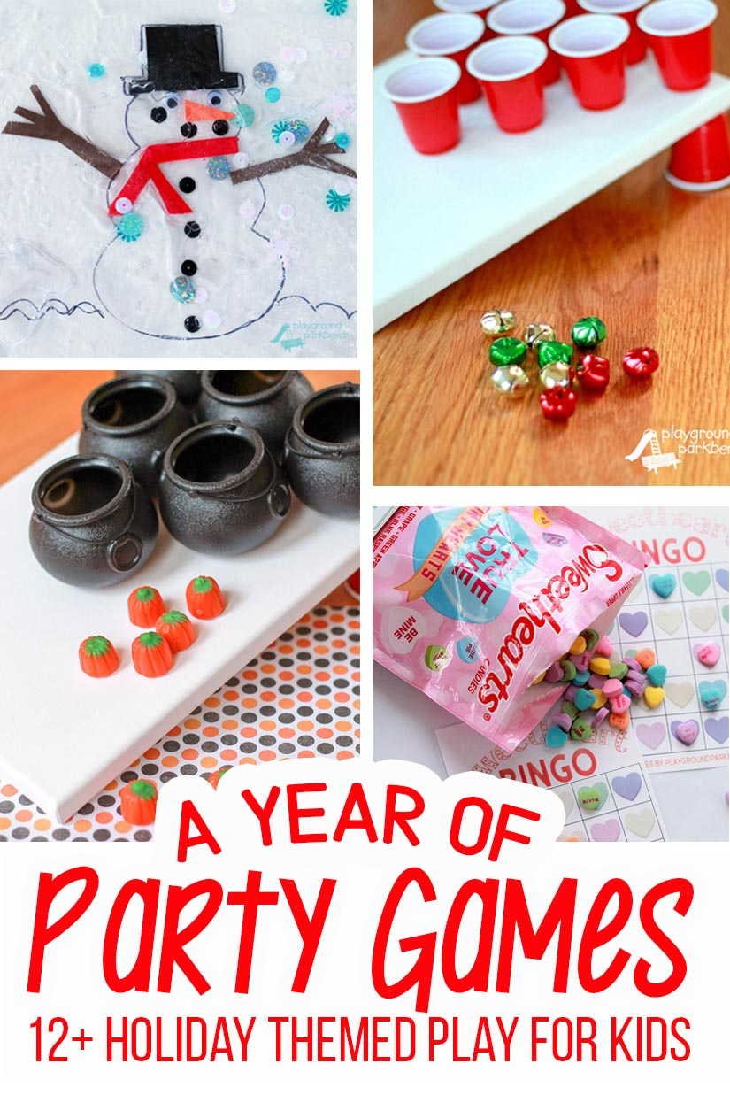 Festive, fun and affordable kids party games for every holiday and season! Simple set-ups, minimal Dollar Store or basic supplies, and hours of party entertainment fun! | Kids Activities | Games for Kids | Party Ideas | Holiday Fun | Room Mom Ideas |